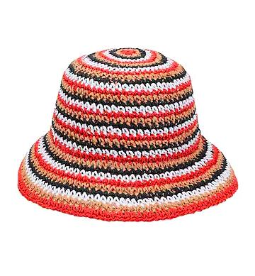 MULTI STRIPE STRAW BUCKET HAT