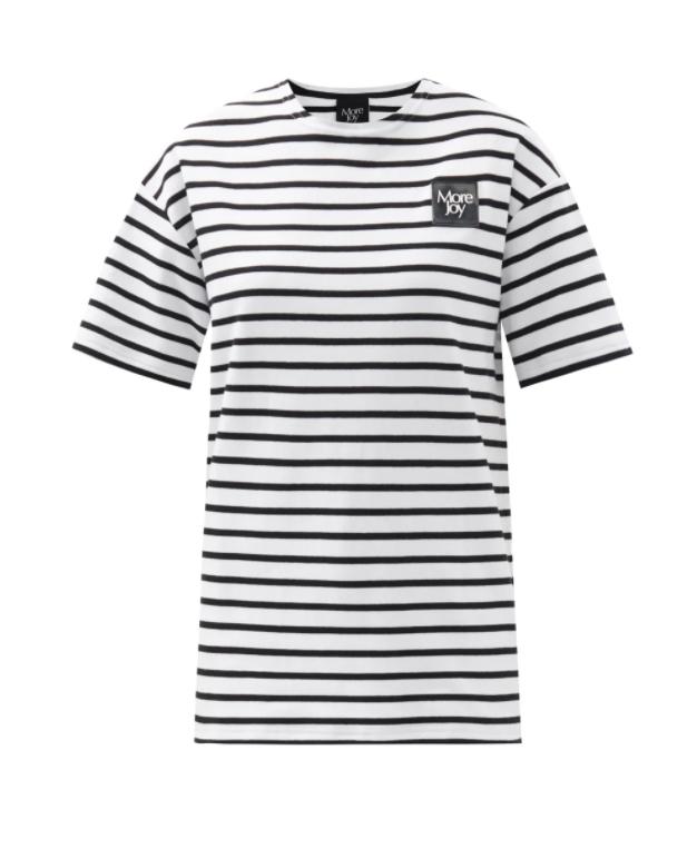 로고 패치 스트라이프 코튼 저지 티셔츠