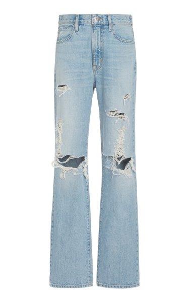 London Distressed Rigid High-Rise Straight-Leg Jeans