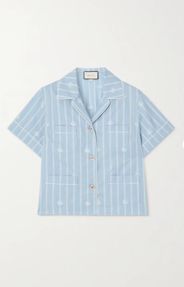 Striped cotton-jacquard shirt
