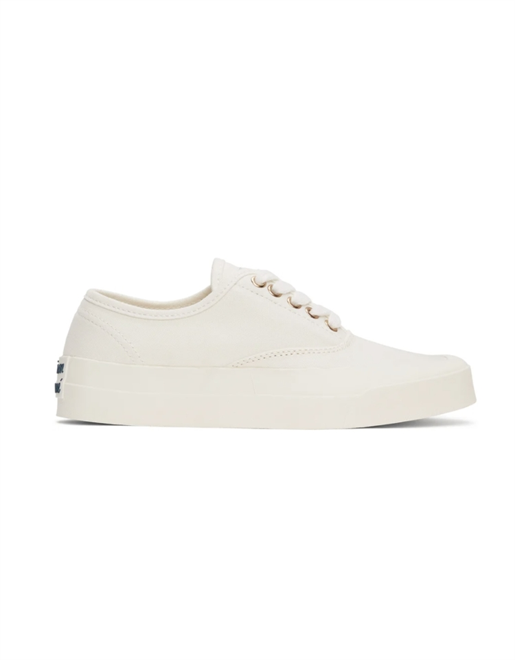 White Canvas Laced Sneakers