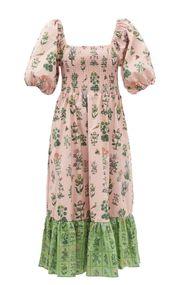 엘로이즈 주름 플로럴 프린트 코튼 포플린 드레스