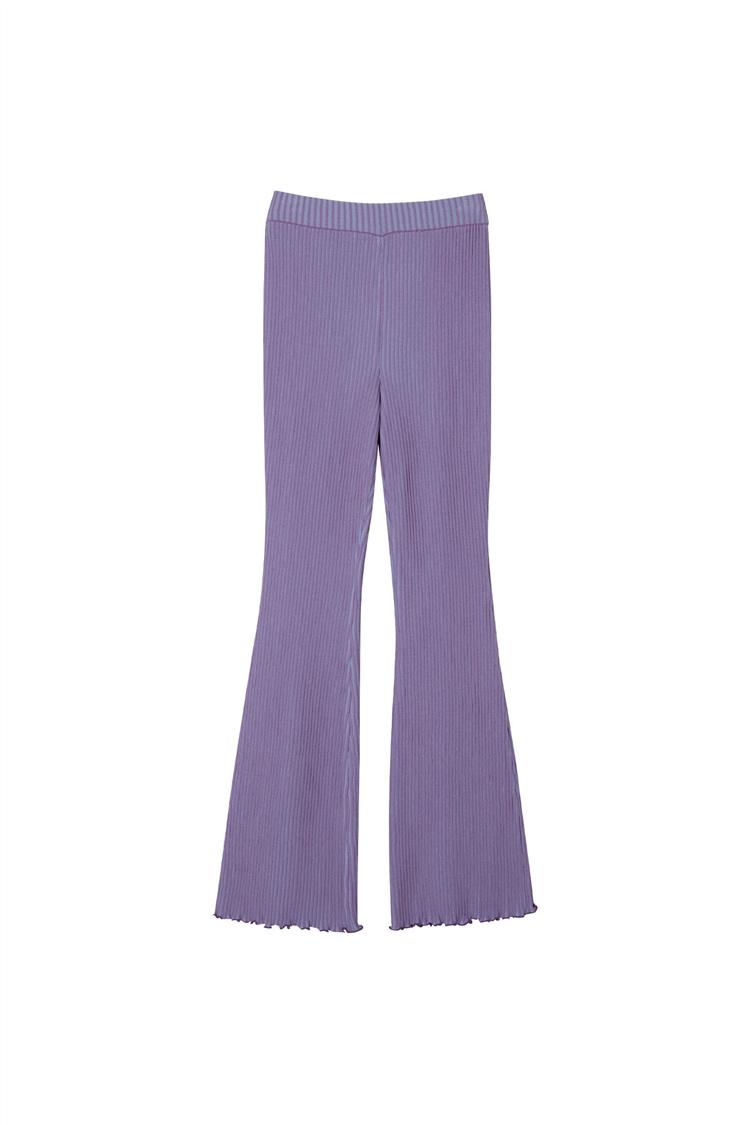 GIANNA TWO-TONE BOOTS CUT KNIT PANTS apa436w(BLUE X PURPLE)