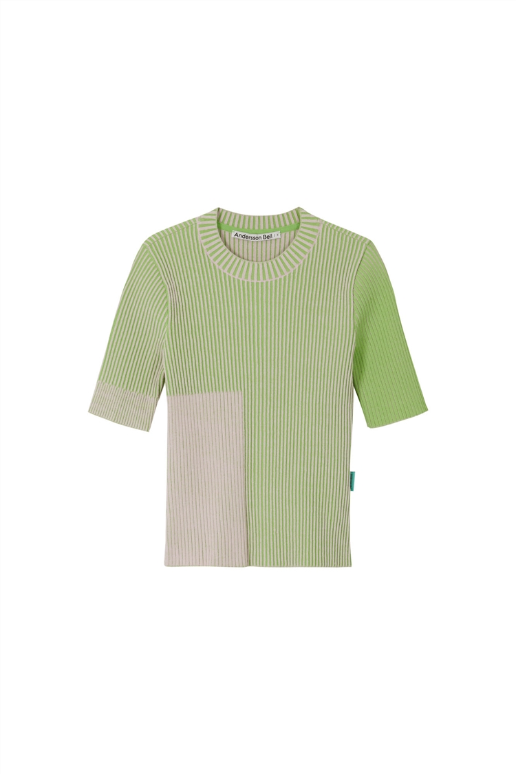 JANIS TWO-TONE SHORT SLEEVE TOP atb587w(PINK X GREEN