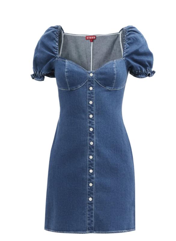 스윗하트 네크라인 데님 미니 드레스