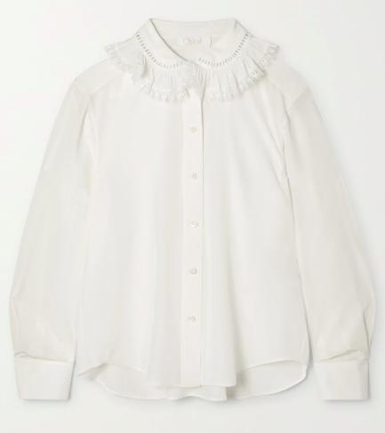 Lace-trimmed silk crepe de chine blouse