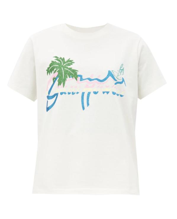 하와이 프린트 코튼 저지 티셔츠