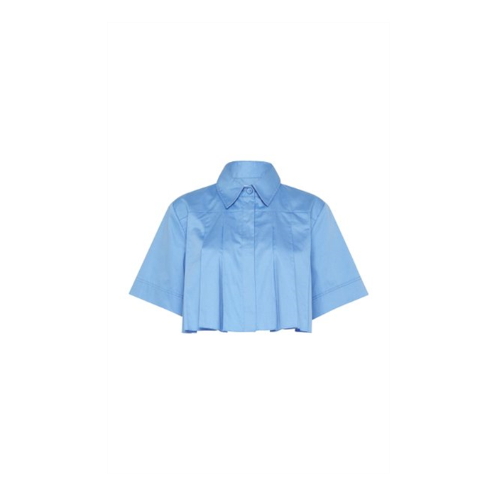 세이보리 크롭 플리츠 코튼 포플린 셔츠