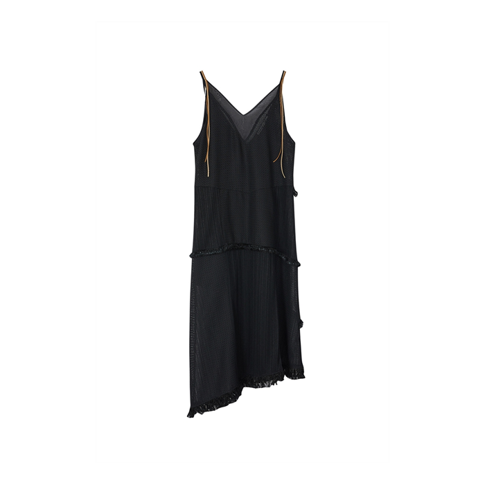SAMANDA DEEP V-NECK ASYMMETRIC TASSLE DRESS atb583w(BLACK)