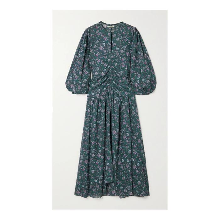 Mariana gathered floral-print cotton-voile midi dress