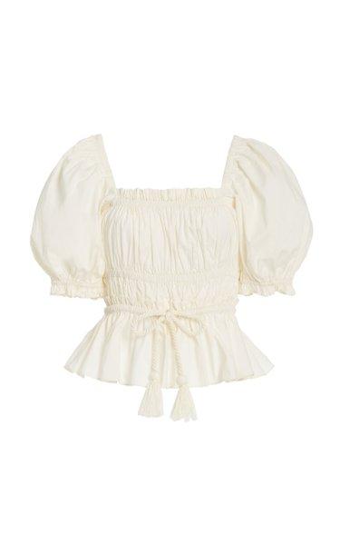 Evita Belted Smocked Cotton Top