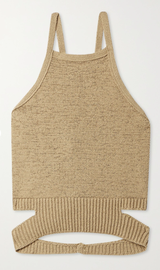 Nan open-back cotton-blend halterneck top