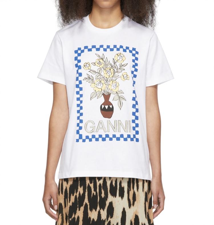 화이트 플로랄 베이스 티셔츠