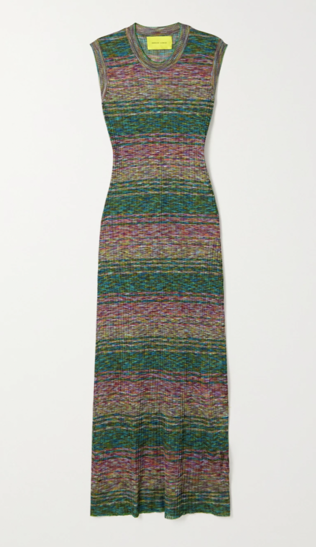 Striped recycled ribbed-knit maxi dress