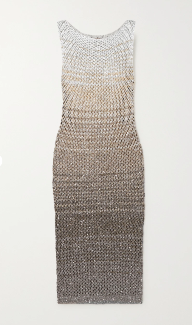 Sequined striped metallic crochet-knit dress