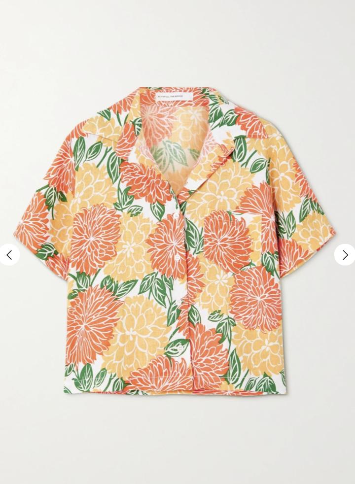 Deryn floral-print linen shirt