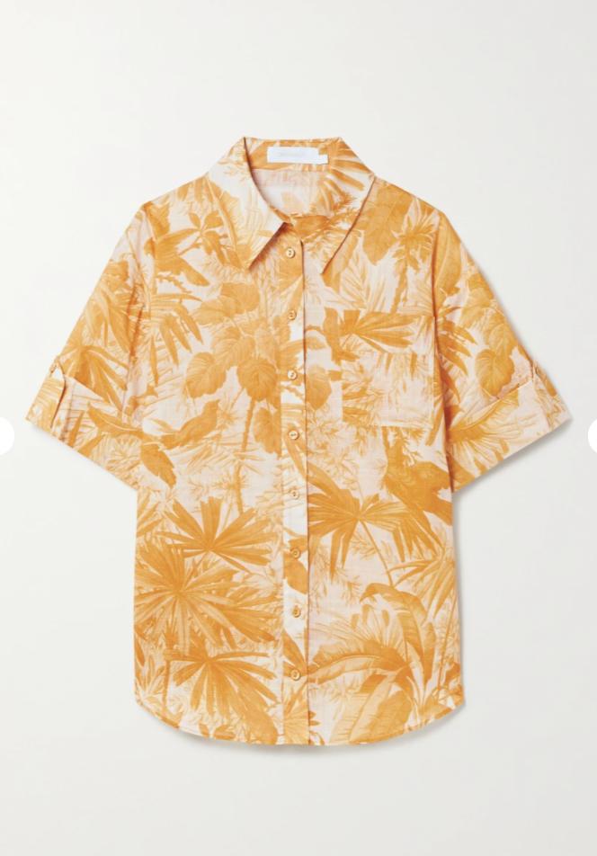 Mae printed cotton-gauze shirt