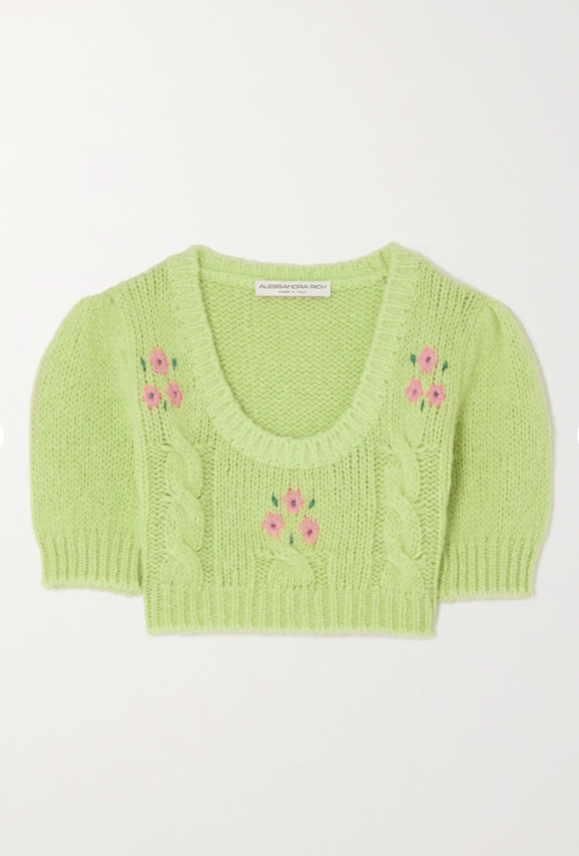 Cropped embroidered cable-knit alpaca-blend sweater