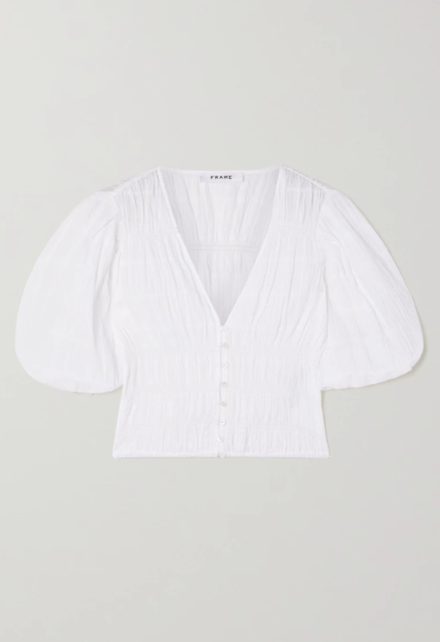Julianne cropped ruched stretch-cotton voile blouse