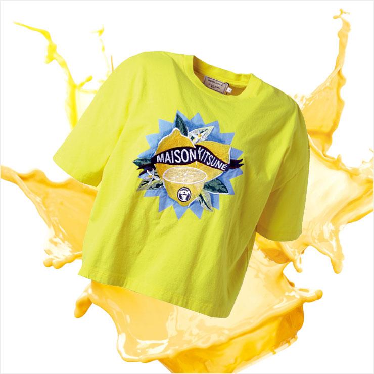 레몬 자수를 새긴 상큼한 크롭트 티셔츠는 16만5천원, Maison Kitsuné by Beaker.