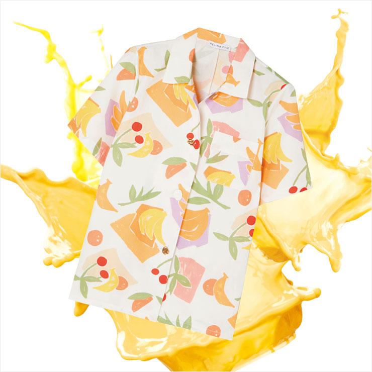 키치한 과일 모양의 프린트를 배치한 파자마 셔츠는 40만원대, Rejina Pyo by Net-A-Porter.