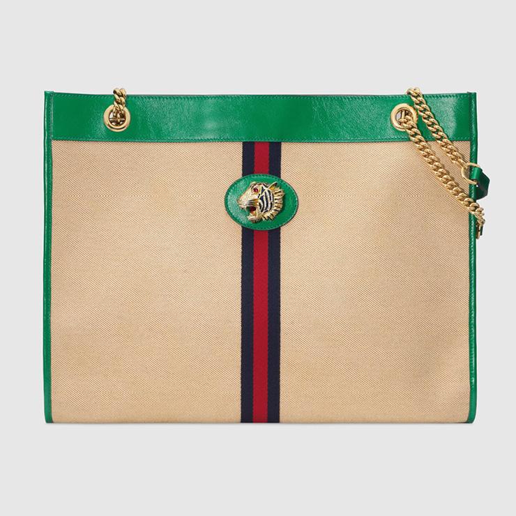 타이거 헤드 장식이 돋보이는 라자(Rajah) 라지 캔버스 토트백, Gucci.
