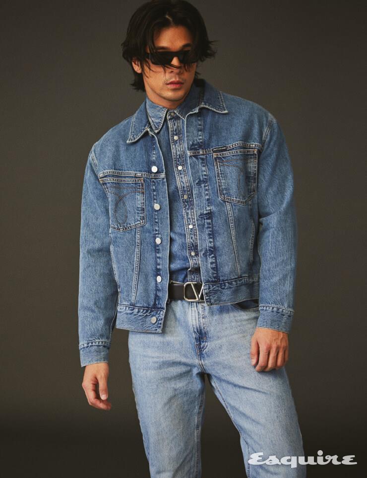 데님 재킷, 데님 셔츠 모두 가격 미정 캘빈클라인 진. 데님 팬츠 가격 미정 리바이스. 벨트 55만원 발렌티노 가라바니. 선글라스 가격 미정 셀린느.