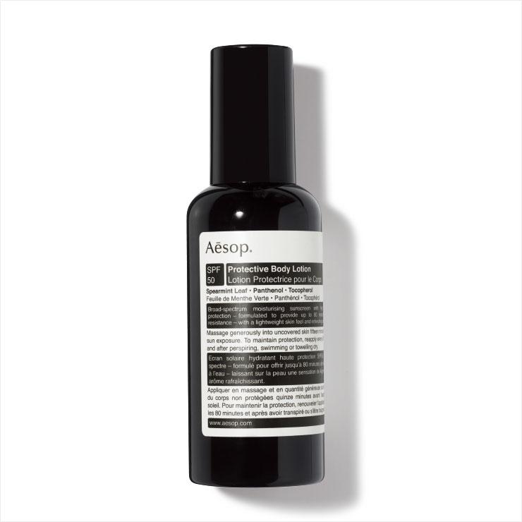 상큼한 아로마 향과 보송보송한 마무리감이 특징인 프로텍티브 바디 로션 SPF 50/PA+++, 4만7천원, Aesop.