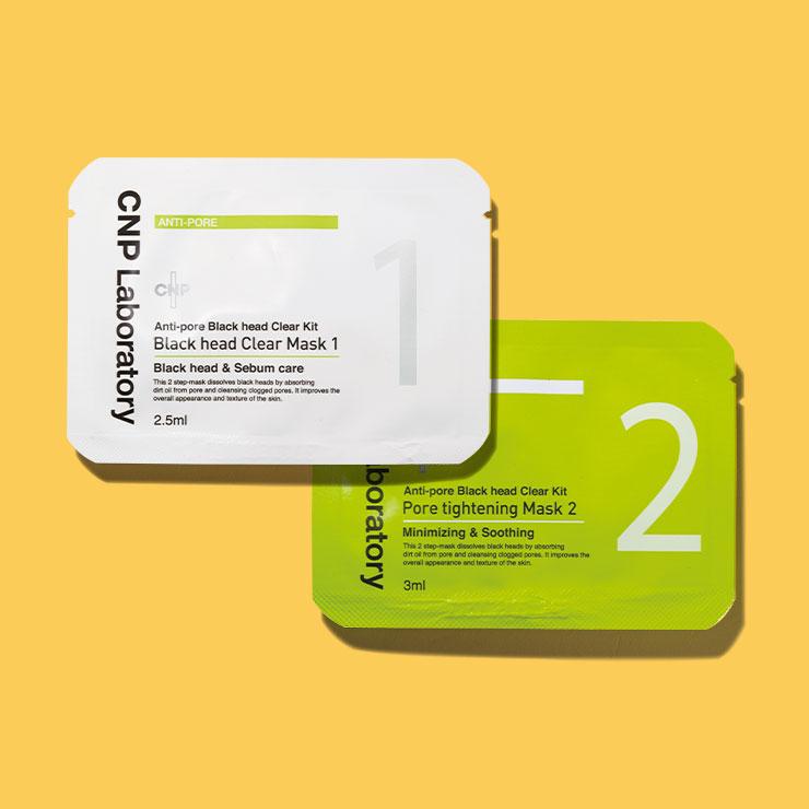 CNP 안티-포어 블랙헤드 클리어 키트 10회분 3만2천원▶피지와 블랙헤드를 자극 없이 녹여 피부를 매끈하게 한다.