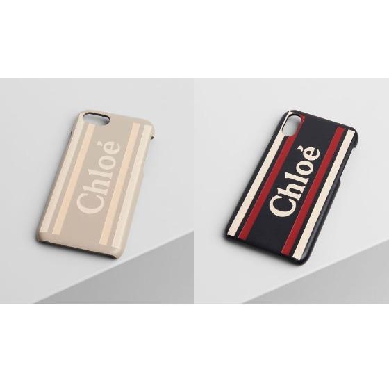로고와 스트라이프 장식의 부드러운 카프스킨 Vick 아이폰 X/XS 케이스는 30만원, 끌로에.