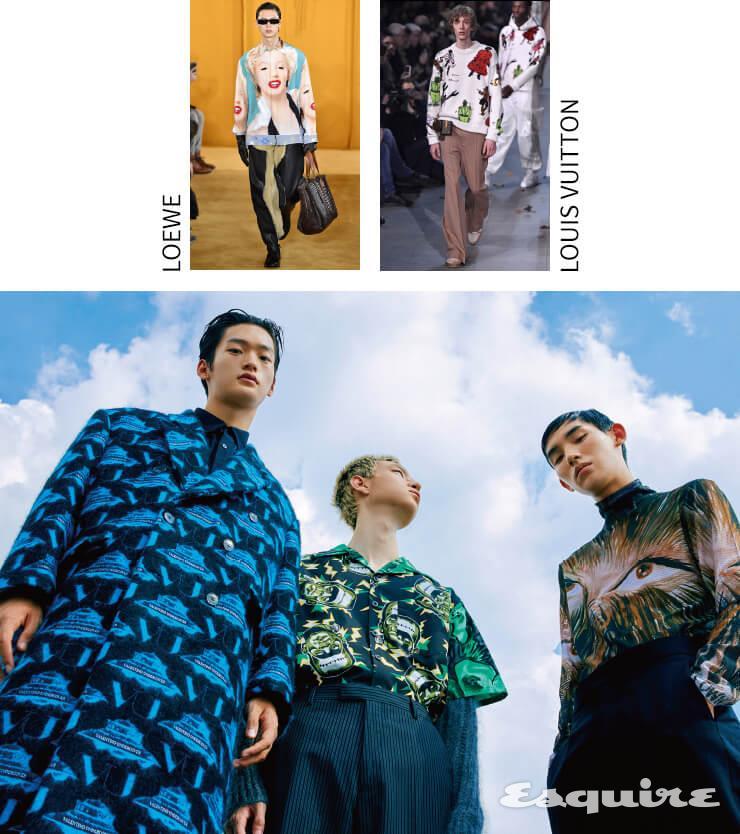 (왼쪽) 코트 640만원, 셔츠 가격 미정 모두 발렌티노-언더커버. (가운데) 셔츠, 회색 카디건, 팬츠 모두 가격 미정 프라다. (오른쪽) 터틀넥 톱, 팬츠 모두 가격 미정 디올 맨.