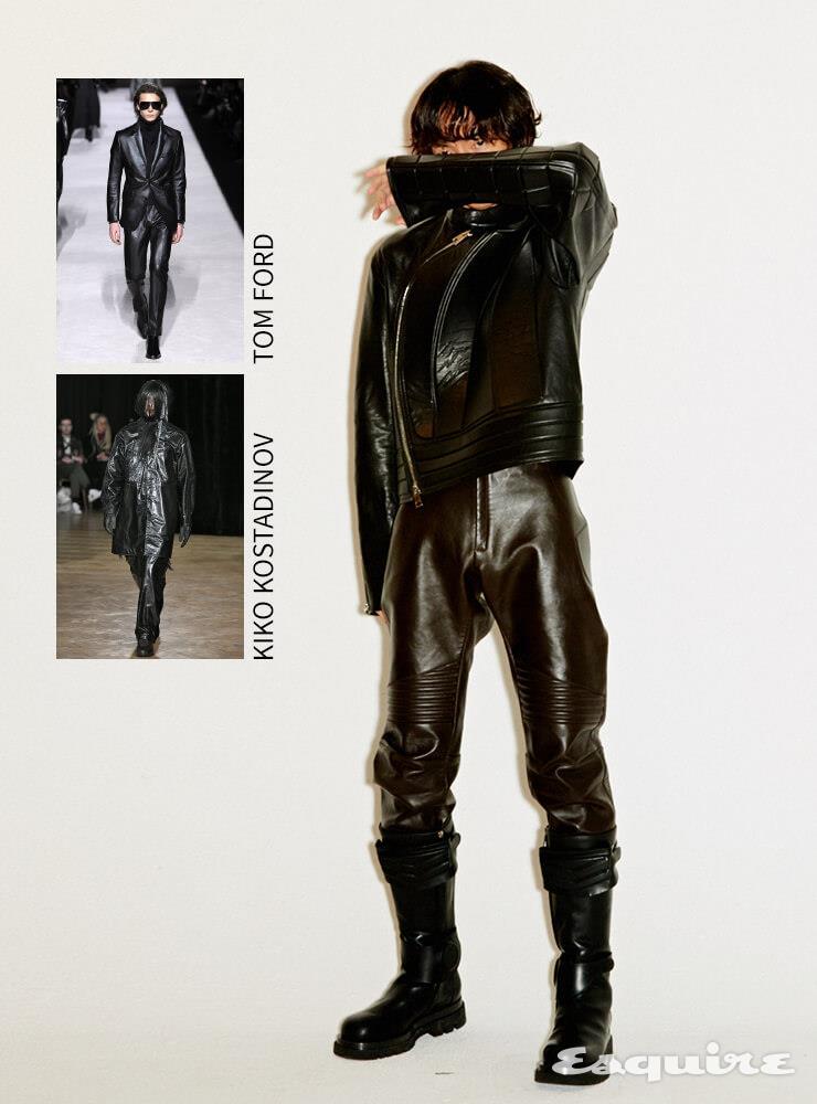 가죽 재킷 873만5000원, 가죽 팬츠 가격 미정, 부츠 185만원 모두 보테가 베네타