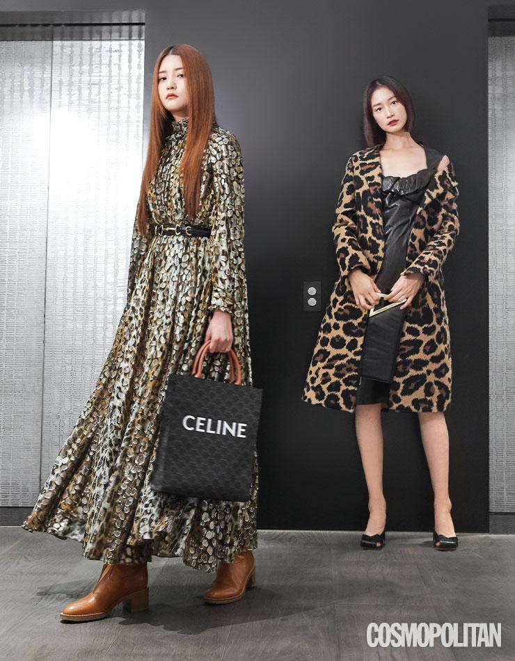 (스완)드레스, 벨트, 토트백, 롱부츠 모두 가격미정 셀린느 by 에디 슬리먼. (세라)코트 4백39만원, 가죽 드레스 가격미정, 토트백 1백88만원, 펌프스 1백7만원 모두 보테가 베네타.