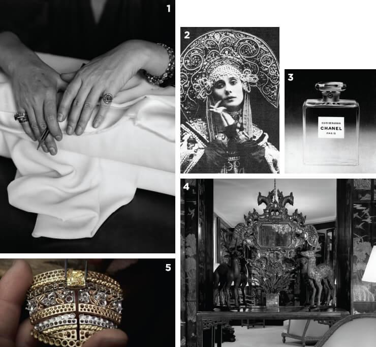 1 가브리엘 샤넬의 섬세한 손. 2 코코쉬닉을 쓴 러시아의 발레리나 안나 파블로바. 3 샤넬의 러시아 사랑을 엿볼 수 있는 '뀌르 드 뤼씨' 향수. '러시아의 가죽 향'이란 뜻이다. 4 깡봉 가 아파트에 장식된 쌍두 독수리 조각 거울. 5 장인정신이 담긴 제작 과정.