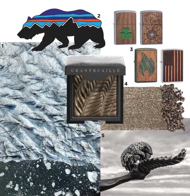1 라프레리의 탄생지, 스위스 알프스 빙하가 녹고 있는 이미지. 2 환경보호에 관한 경각심을 고취시킬 파타고니아 티셔츠 그래픽. 3 새롭게 출시되는 지포 '우드척' 컬렉션. 4 반짝임을 더해주는 '루미네센트 아이섀이드'는 7만5천원. Chantecaille. 5 샹테카이는 오랫동안 불법 밀매 동물을 보호하기 위해 노력하고 있다.