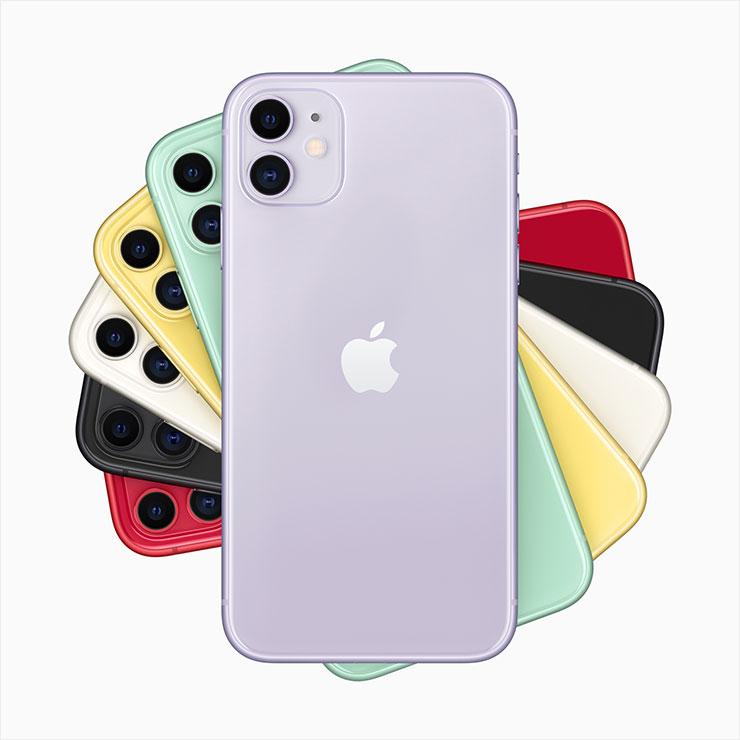 (퍼플, 그린, 옐로, 블랙, 화이트 및 프로덕트 레드까지 5가지 컬러로 출시되는 아이폰11)