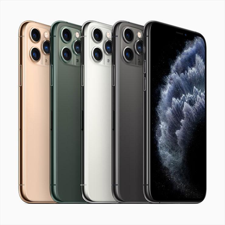 (골드, 미드나이트 그린, 실버, 스페이스 그레이까지 총 4가지 컬러로 출시된 아이폰11 프로)