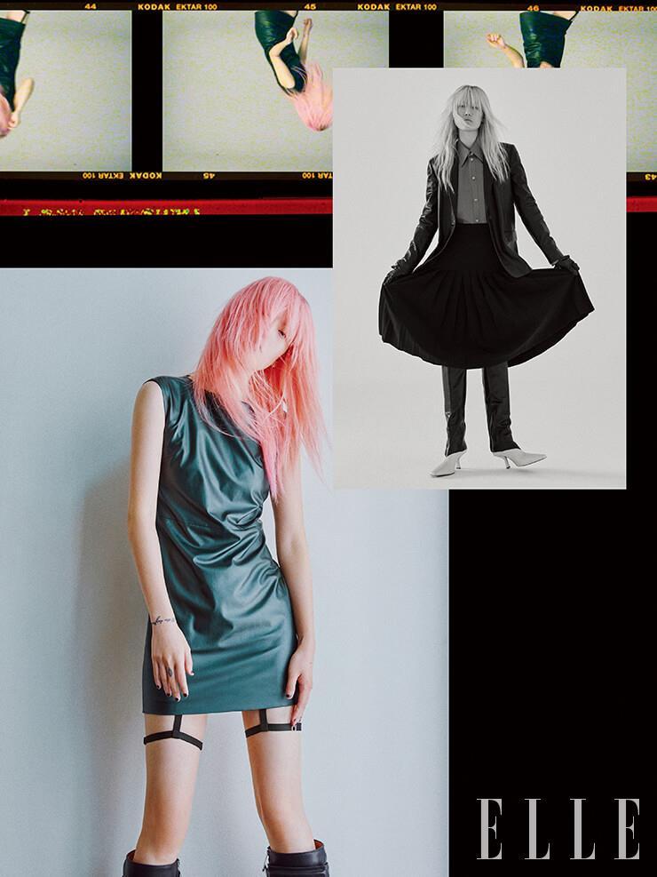 (위) 매니시한 가죽 재킷과 가죽 셔츠, 플리츠스커트는 가격 미정, 모두 Tod's. 가죽 장갑은 7만9천원, & Other Stories. 투 톤 롱부츠는 가격 미정, H&M.(아래) 미니멀한 가죽 드레스는 32만9천원, Maxxij. 워커 부츠는 1백85만원, Bottega Veneta. 가터벨트는 에디터 소장품.