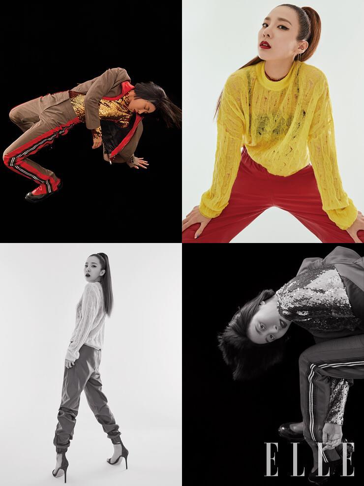 리아킴이 입은 스팽글 톱과 집업 디테일의 재킷, 라이닝 디테일의 팬츠, 앵클부츠는 모두 Burberry. 산다라박이 입은 디스트로이드 디테일의 니트 톱은 Nina Ricci. 레더 팬츠는 MSGM. 로고 참 장식 초커는 Dior. 아찔한 힐의 샌들은 Gianvito Rossi.