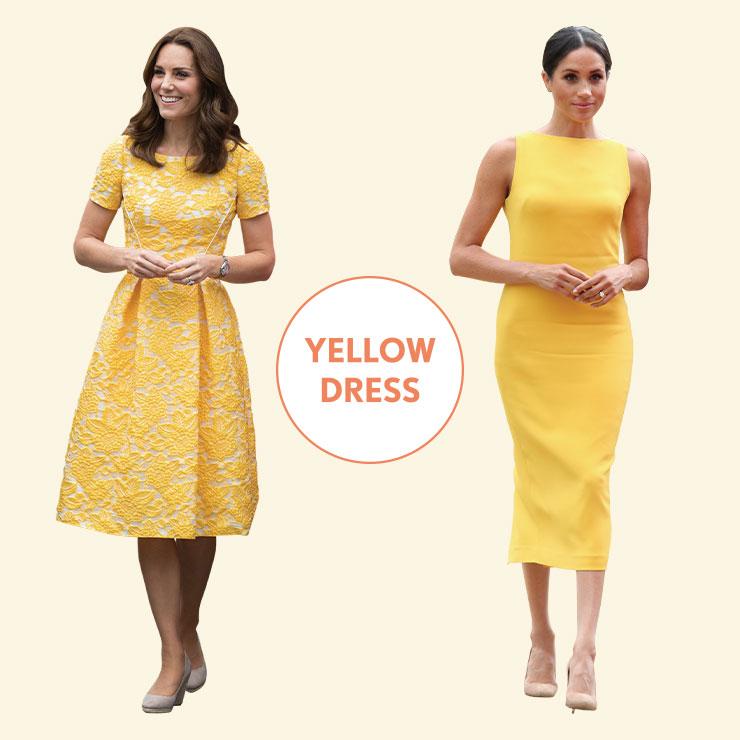 FLORAL vs MINIMAL──제니 팩햄의 자카르 드레스로 옐로 컬러가 주는 긍정의 기운을 극대화한 케이트. 메건은 브랜든 맥스웰의 미니멀한 시스 드레스로 화사한 옐로 컬러를 모던하게 소화했다.