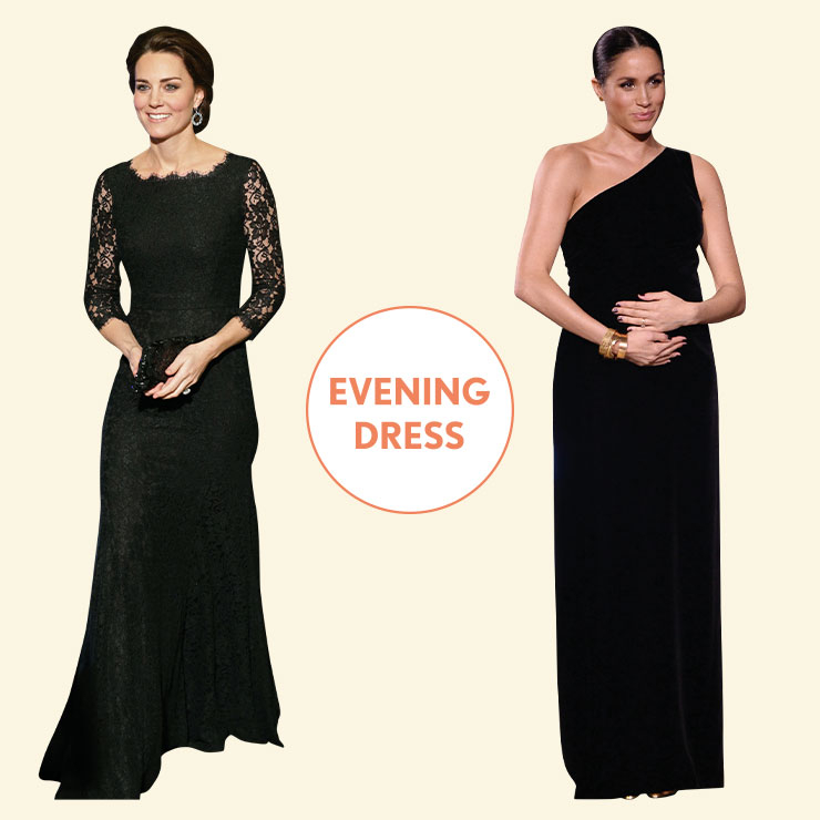 LACE vs VELVET──블랙 레이스 드레스로 고전적인 우아함을 선보인 케이트. 메건은 지방시의 원숄더 드레스를 입고 임신 중에도 여신과 같은 아름다운 모습을 보여줬다. 배를 감싼 모습에서 숭고함마저 느껴진다.