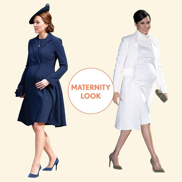 LADY in NAVY vs MINIMALIST in WHITE──임신 중에도 스타일을 놓칠 순 없는 법. 케이트는 역시나 여성스러운 A라인 코트를 선택했고, 메건은 한 치의 흐트러짐도 없는 캘빈클라인의 화이트 룩으로 많은 사람의 주목을 받았다.