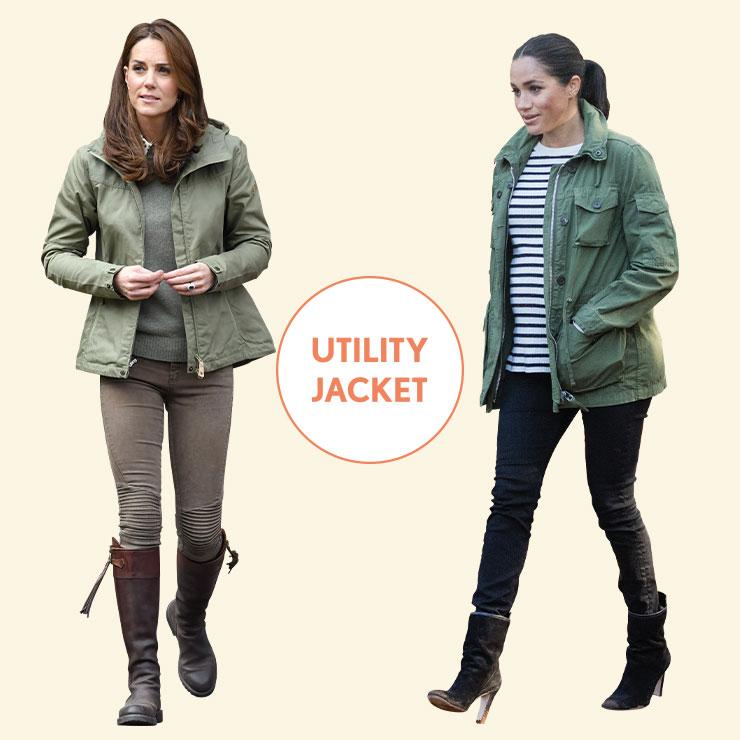 VINTAGE CASUAL vs URBAN CHIC──두 사람 모두 숲이나 도시 외곽을 방문할 때 유틸리티 재킷을 즐겨 입는다. 케이트는 빈티지한 컨트리 룩을 연출한 반면, 메건은 티셔츠와 블랙 데님, 스웨이드 부츠로 편안한 시티 룩을 완성했다.