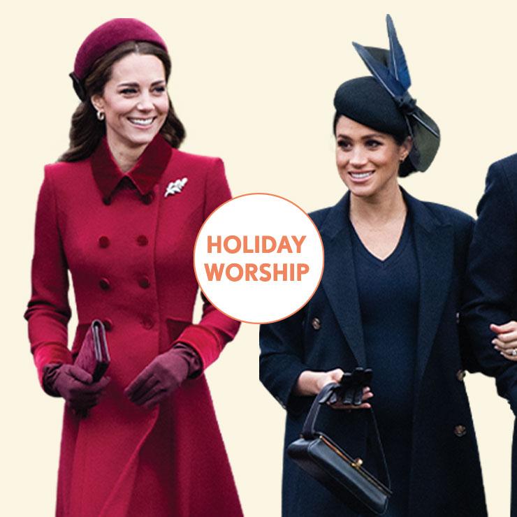 크리스마스 예배에 참석한 두 사람의 룩은 어떨까? 연말 분위기에 어울리는 레드 컬러의 코트를 입은 케이트. 레트로풍의 디자인을 선택한 그녀는 마치 고전 영화 속의 여배우처럼 보인다. 반면 메건은 매니시한 블랙 코트와 니트 드레스로 시크하고 실용적인 블랙 룩을 완성했다. 여기에 롱부츠를 매치한 것 역시 칭찬받을 만한 스타일링이다.