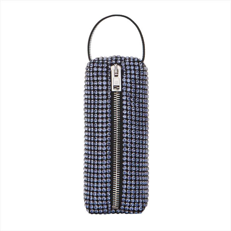 필통 같은 디자인의 크리스털 파우치 백은 가격 미정, Alexander Wang.