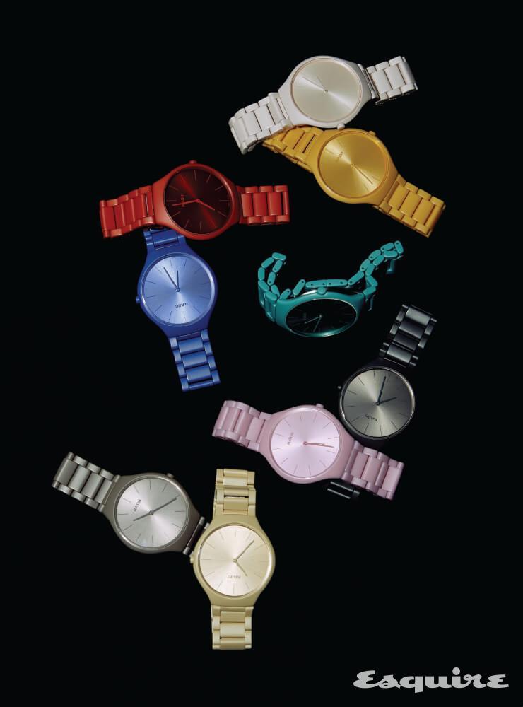 아홉 가지 색으로 완성된 트루 씬라인 레 컬러스 르 코르뷔지에. 각 모델별 999개 한정 생산. 234만원 라도.