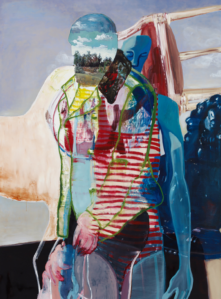 'Man with a Landscapehead', 2019, Oil on linen, 195x130cm.