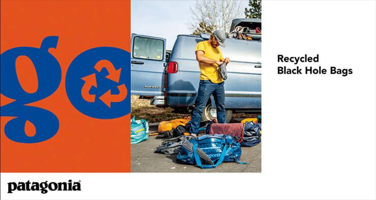 100% 재활용 원단을 사용한 파타고니아의 '리사이클 블랙홀' 캠페인.