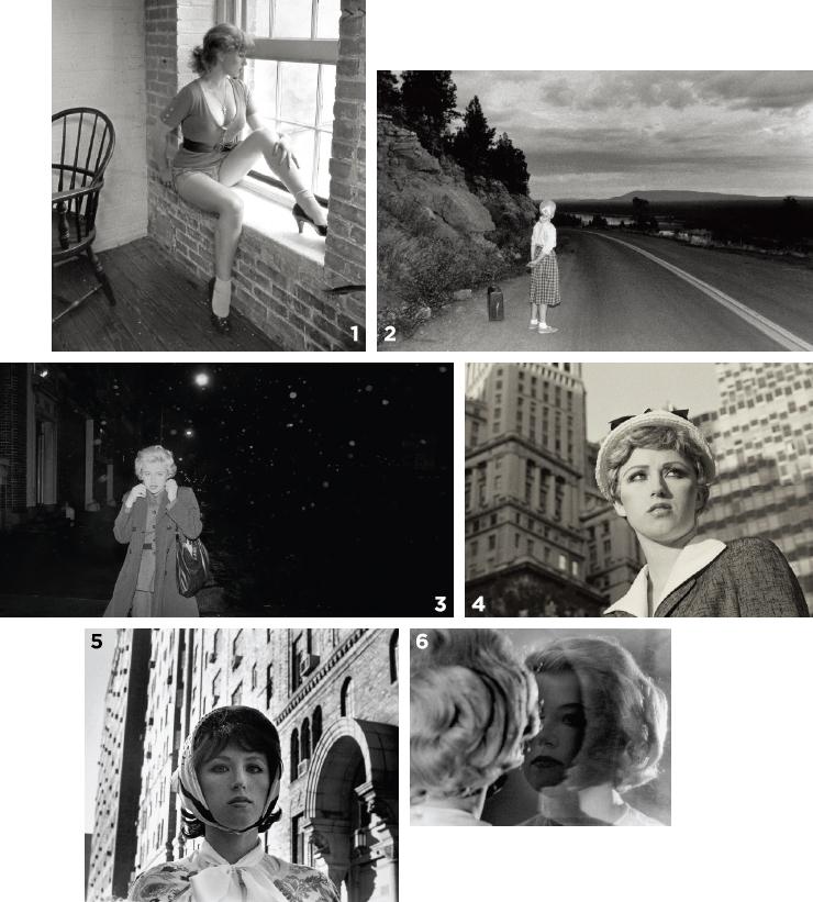 1 'Untitled Film Still #15', 1978. 2 'Untitled Film Still #48', 1979. 3 'Untitled Film Still #54', 1980. 4 'Untitled Film Still #21', 1978. 5 'Untitled Film Still #17', 1978. 6 'Untitled Film Still #56', 1980.