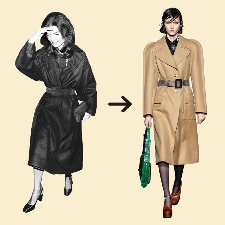 Jacqueline Kennedy Onassis ▶퍼스트레이디 시절에는 우아한 스커트 슈트를 즐겨 입었지만 케네디 사망 이후에는 클래식한 코트에 버그 아이 선글라스를 매치한 재키 스타일을 탄생시키며 1970년대 스타일 아이콘으로 자리매김했다. 이번 시즌 지방시 런웨이에는 등장한 코트는 재키 스타일의 2019년 버전 같다.